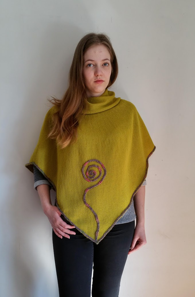 Grey knitted and crocheted sprout poncho