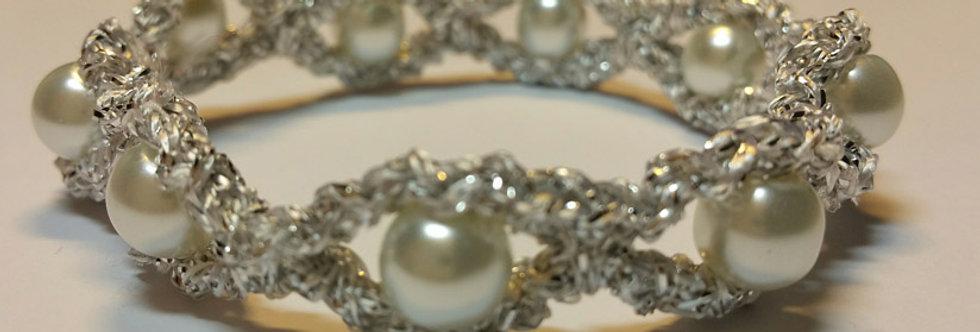 White crocheted miss galaxy bracelet