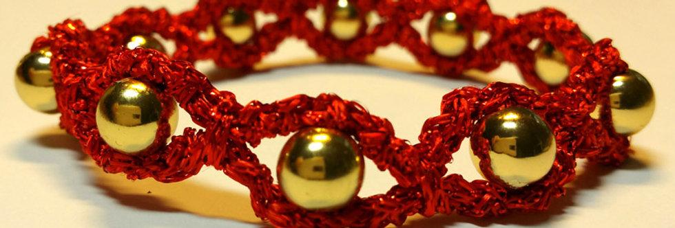 red crocheted miss galaxy bracelet