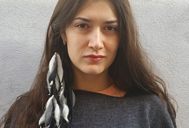 Wearing polar coloured crocheted City Shaman hairband