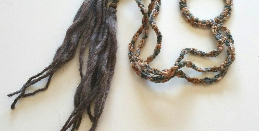 bark coloured crocheted dragon braid hair band