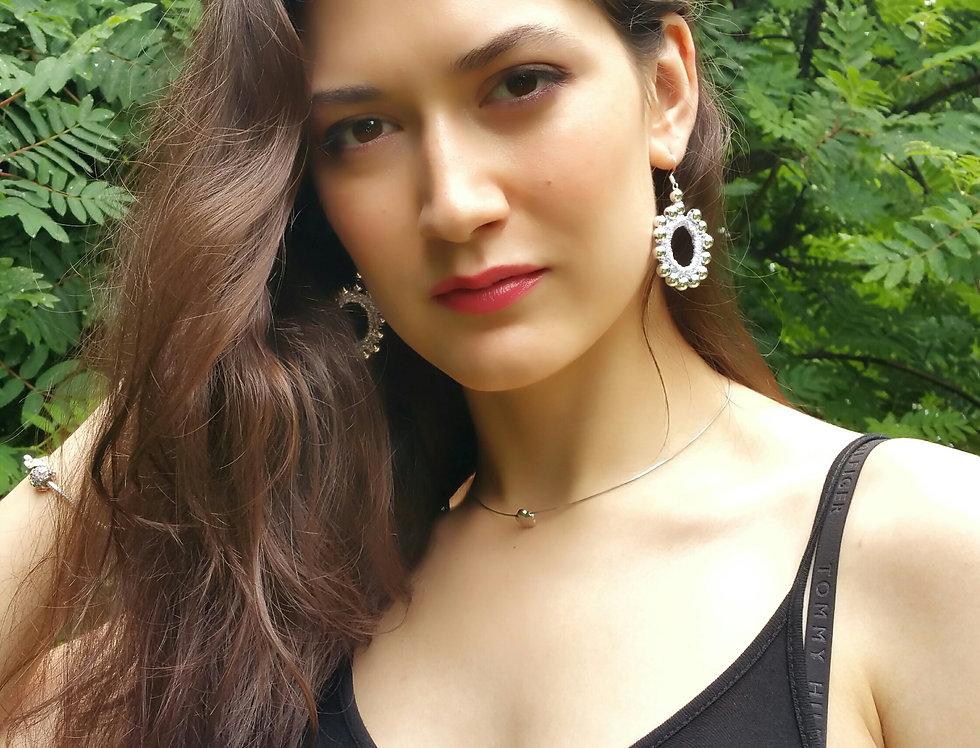 Sun earrings, silver