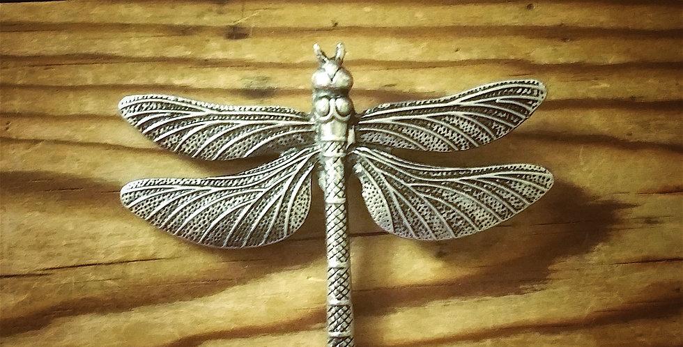 Dragonfly brooch, silver