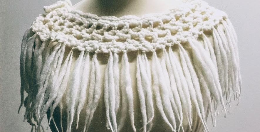 white crocheted north fringe tie