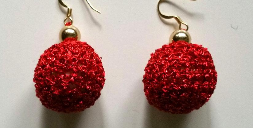 Red crocheted golden age earrings