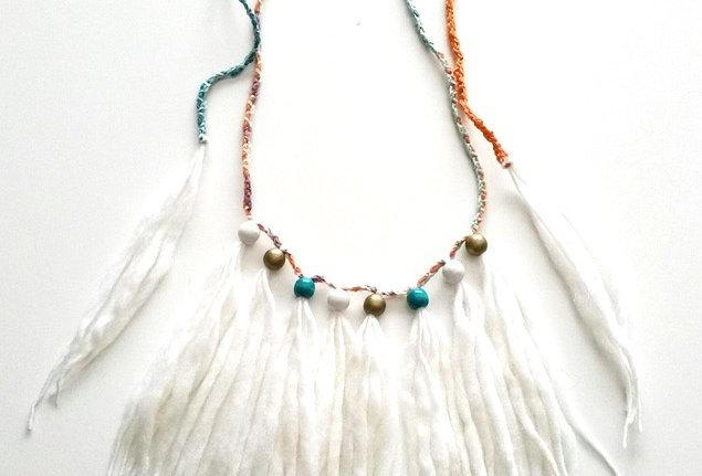 """Wood O"" Necklace ( white)"