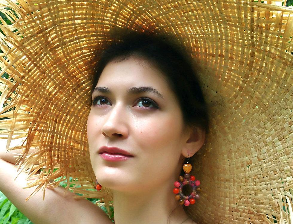 Sunflower earrings, nocture