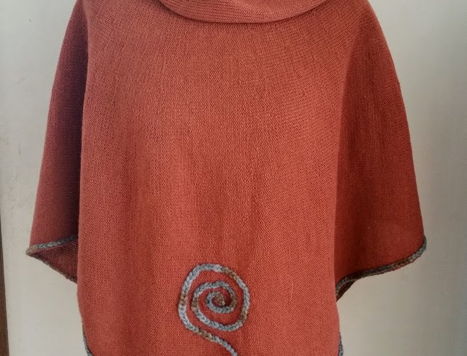 terracotta knitted sprout poncho