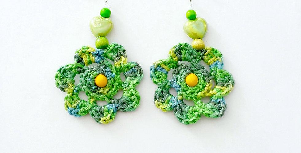 Flower of life earrings, green