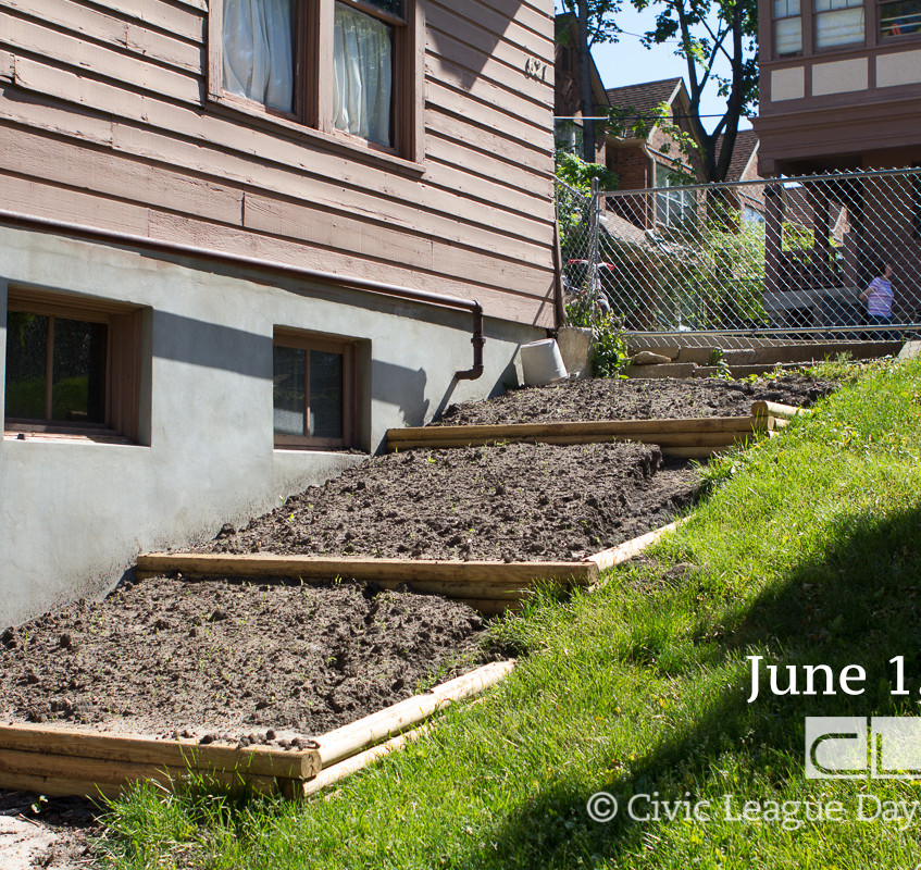 June 1st, just days after planing and the new terrace