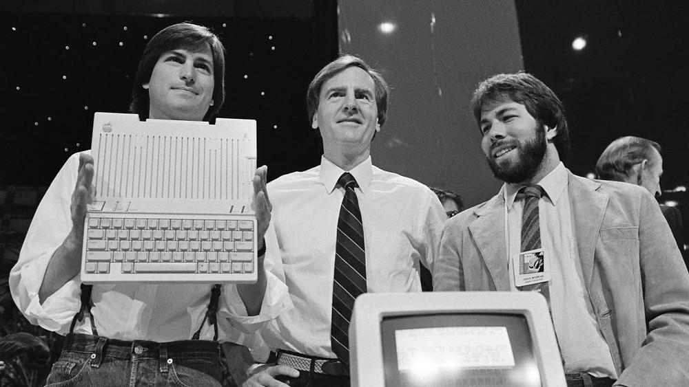 Джобс, Скалли и Возняк на IPO Apple