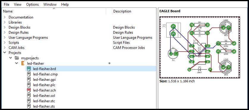 Файлы Gerber в папке проекта на панели управления САПР
