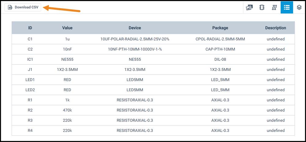 Для скачивания спецификации нажмите кнопку Download CSV (Скачать CSV) в окне Circuits.io