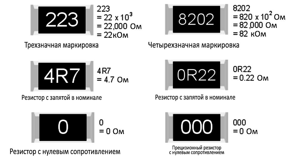Как читать номинал на верхней стороне SMD-резисторов