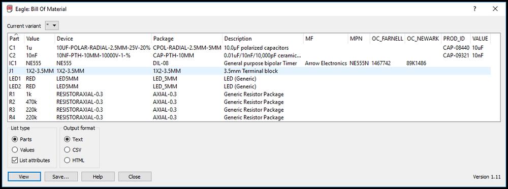 Созданная САПР спецификация после запуска файла bom.ulp