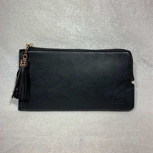 WOMEN PU LEATHER LONG WALLET HF900 BLACK