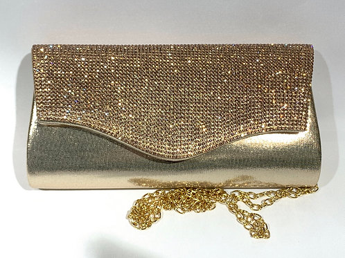 FASHION RHINESTONE CLUTCH WITH LONG CHAIN JCC3033GD