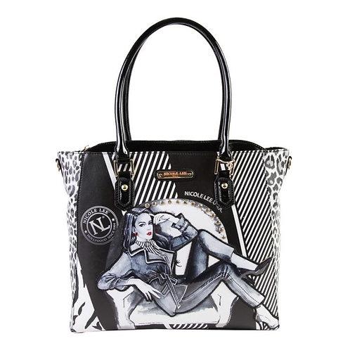 Nicole Lee  DENIM PRINTED Handbag Maxine Denies Comfort Zone