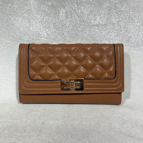PU LEATHER LONG WALLET YG108 BROWN
