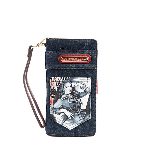 Nicole Lee  JS6814 DENIM PRINTED WALLET Maxine Denies Comfort Zone