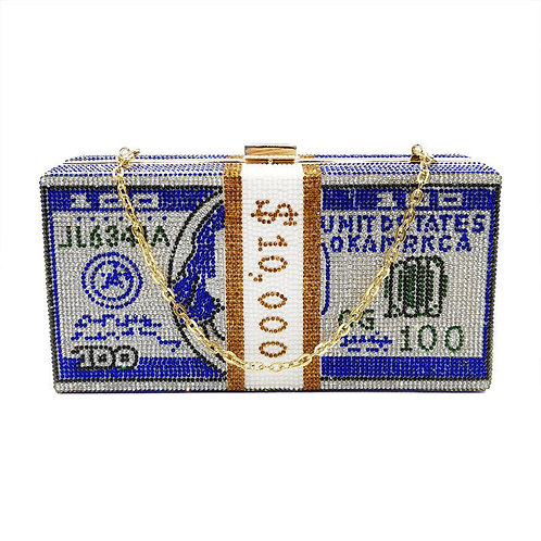 Money Evening Clutch Bags MC01 BLUE