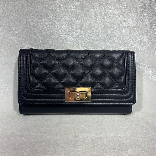 PU LEATHER LONG WALLET YG108 BLACK