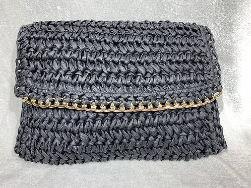 FASHION STRAW WEAVING CLUTCH BK