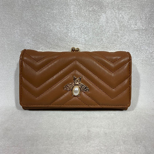 PU LEATHER LONG WALLET YG109 BROWN