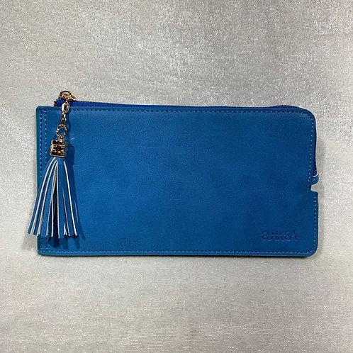 WOMEN PU LEATHER LONG WALLET HF900 BLUE