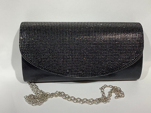 FASHION RHINESTONE CLUTCH WITH LONG CHAIN JCC3034BK