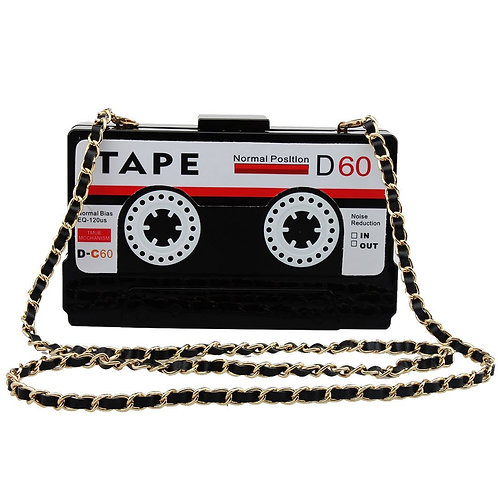 Women Clutch Evening Bag ST002-TAPE BLACK