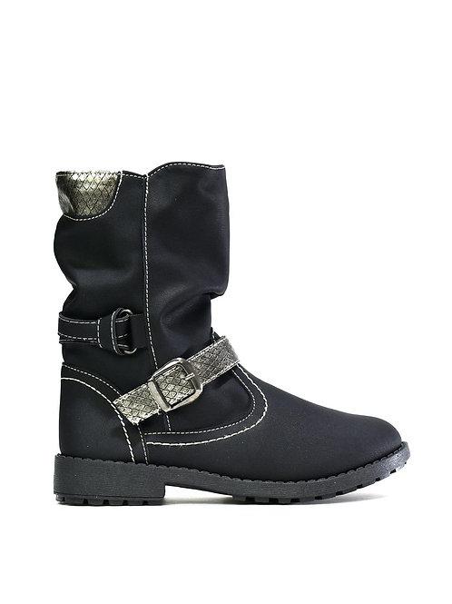 Arya Girl's Metallic Ankle Boot Black