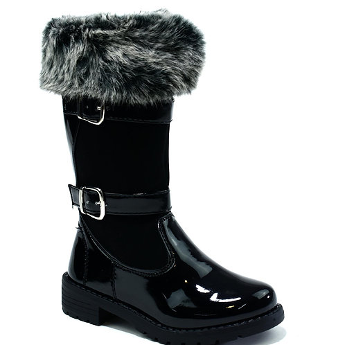 Girl's Faux Fur Topped Boot Black Patent