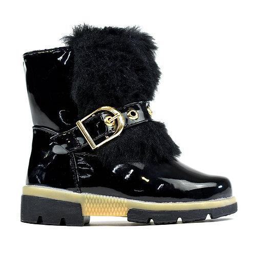 Little Girl's Faux Fur Boots Black