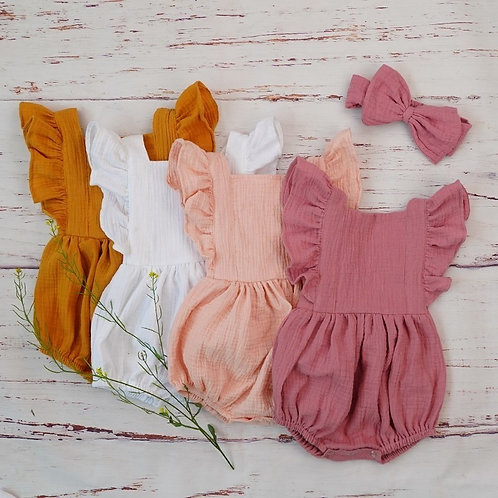 Organic Cotton Baby Romper and Matching Bow