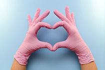 Heart Healthy Hands Safe Gloves Sanitized Washed Hands Clean