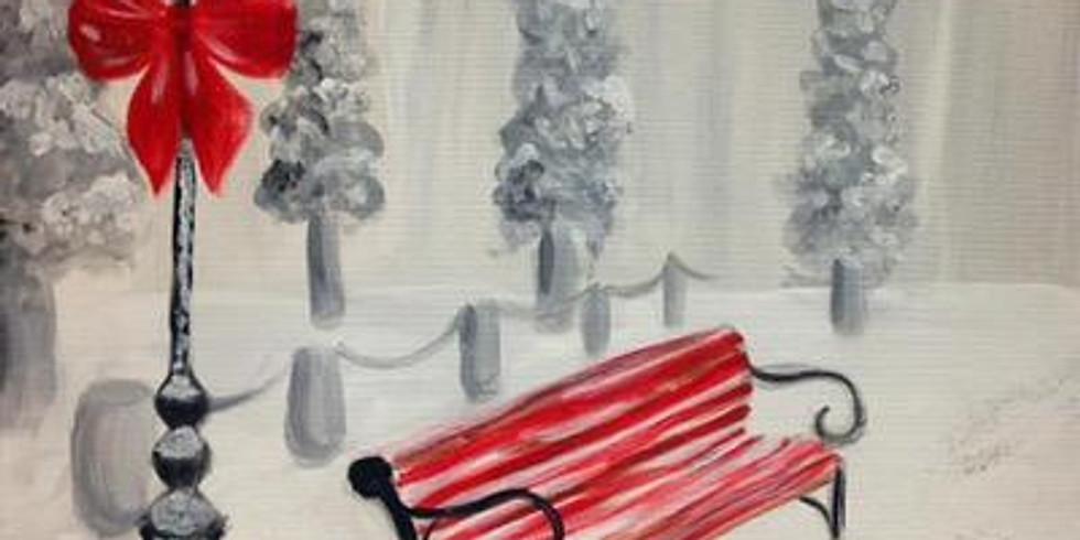 Virtual Paint & Sip - Winter Bench