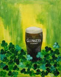 Guinness with Shamrocks