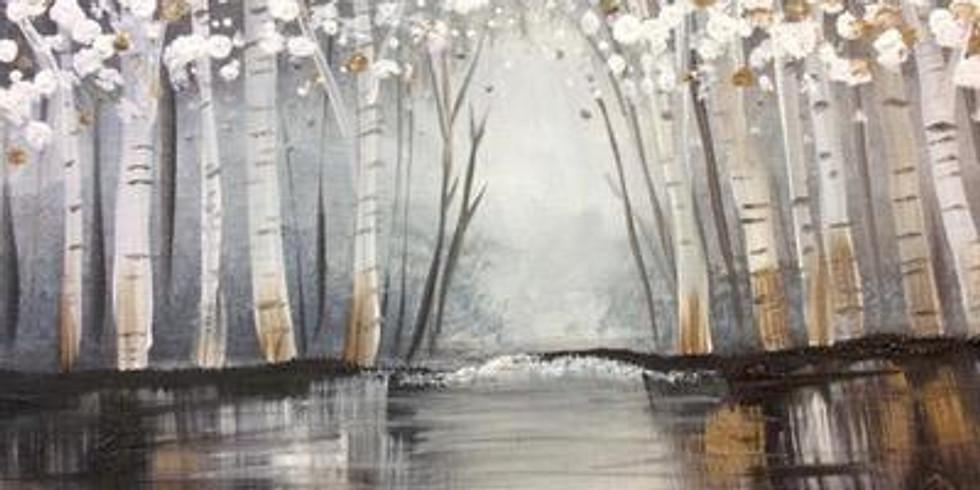 Virtual Paint & Sip - Winter Scene