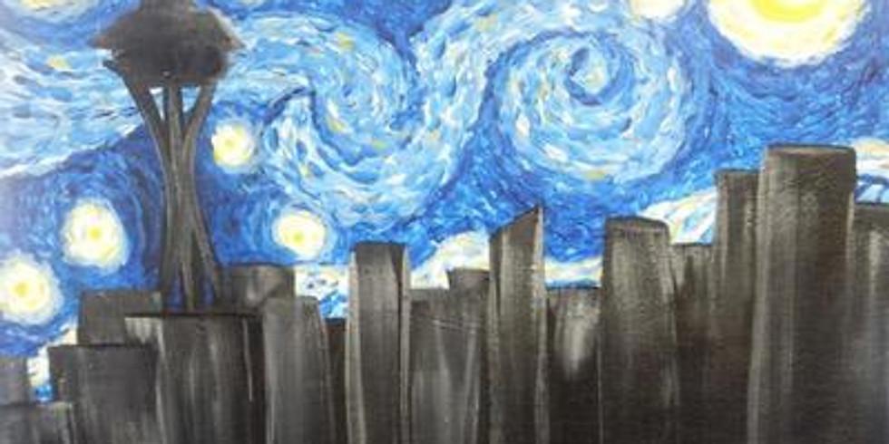 Virtual Paint & Sip - Seattle Starry Night