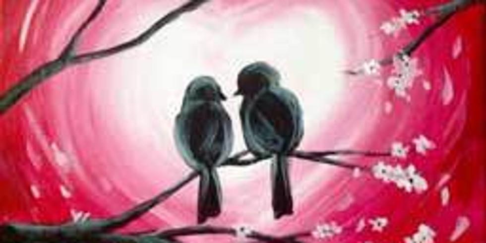 Virtual Paint & Sip - Love Birds