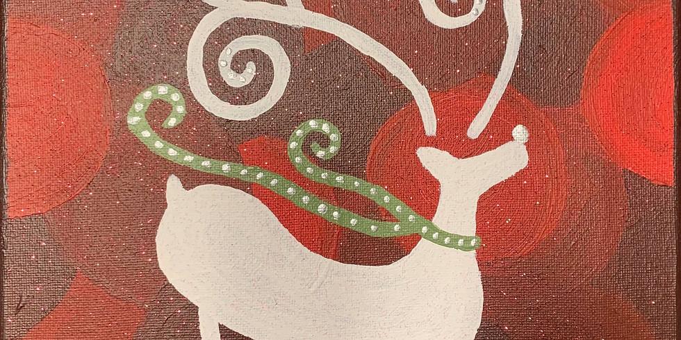 Virtual Paint & Sip - Pretty Reindeer