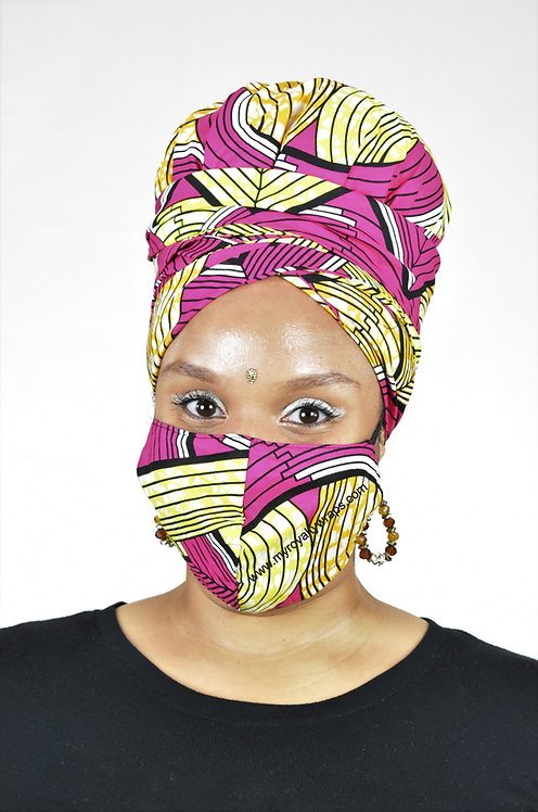 Consistency Satin Lined Bonnet Head Wrap & Mask Set