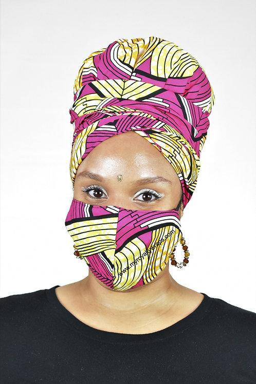 Consistency Satin Lined Bonnet Head Wrap & Mask Set