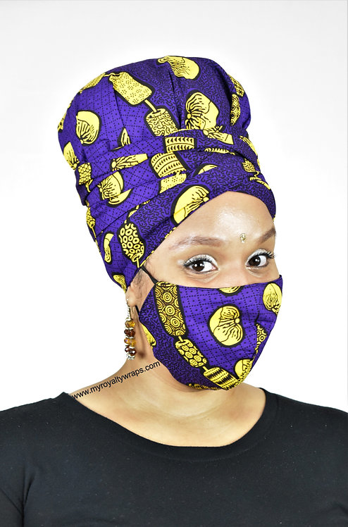 Passion Satin Lined Bonnet Head Wrap & Mask Set