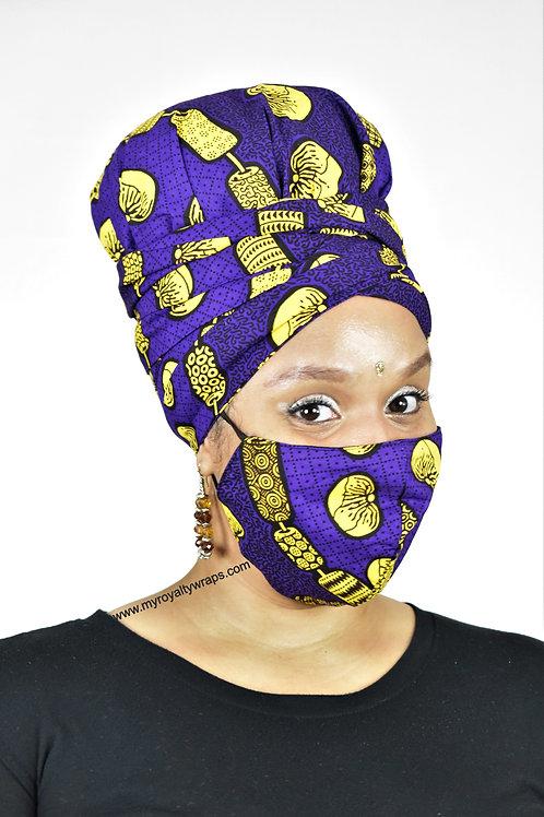 Passion Satin Lined Bonnet Head Wrap & Mask Set