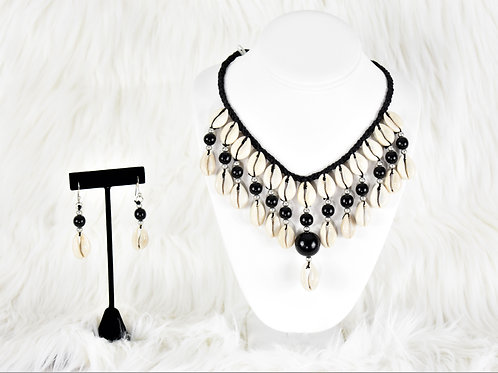 Black Cowrie Shell Jewelry Set