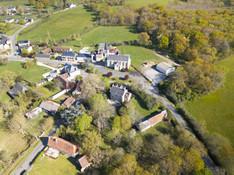 Village de et collectivité de Migné en Brenne vu par drone