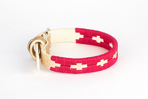 FUCHSIA PINK, Polo dog collar from Argentina, Raw leather