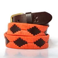 Polo gaucho leather belt from Argentina Orange